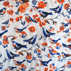 Rayon Challis Bird Floral Tangerine/Royal - Fabric - Style Maker Fabrics