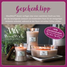 #woodwick #kerzenwelt #holzdocht #knistern #geschenktipp  #shopping #josalzburg Candle Jars, Candles, Shopping, Environment, Incense, Gifts, Candy, Candle Sticks, Candle