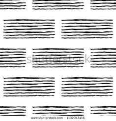 Vector seamless pattern with brush stripes and handwriting. Black color on white background. Hand painted grange cursive texture. Ink letter writing elements Repeat print for cloth, wallpaper, textile