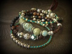 Agate,Opal, Wood, Glass, African Beads, Rhyolite, Bolo Leather, Memory Wire, Wrap Charm Bracelet by YuccaBloom on Etsy