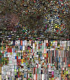 "Hong Hao is a Chinese artist who likes organizing and grouping things. in this photographic work ""my things""  thousands of scanned images are arranged together on a massive scale. when placed on a black background they become micro universes; personal-size objects to create distant galaxies or river deltas across a rubbish strewn landscape.  --http://annct.tumblr.com #art #collage"