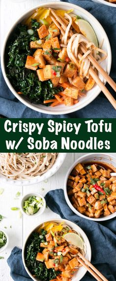 Easy tofu recipe featuring the best fried tofu - Crispy Spicy Tofu with Soba Noodles. Vegan Dinners, Healthy Dinner Recipes, Vegetarian Recipes, Easy Tofu Recipes, Party Recipes, Chili Recipes, Healthy Meals, Delicious Recipes, Healthy Food