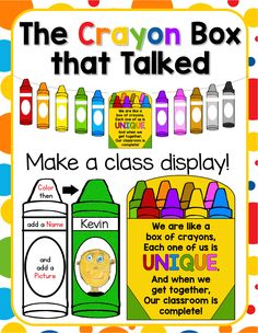 "Back to School Activity and Class Display for ""The Crayon Box that Talked""."