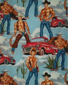 Alexander Henry pin up fabric Alexander Henry, Art Of Man, Retro Fabric, Gay Art, Kitsch, Country, Pin Up, Prints, Cowboys