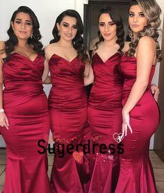 Burgundy Bridesmaid Dress Made of Satin, Gorgeous Mermaid Prom Dress, Custom Order Dress Red Bridesmaids, Mermaid Bridesmaid Dresses, Burgundy Bridesmaid Dresses, Wedding Dresses, Party Dresses, Reception Dresses, Dress Party, Gowns Online, Dresses For Teens