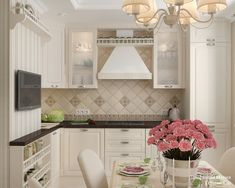 Женская классика. Трехкомнатная квартира в Москве. Кухня Kitchen Pantry Design, Cozy Kitchen, Ikea Kitchen, Country Kitchen, Interior Exterior, Kitchen Interior, Home Interior Design, Dining Nook, Kitchen Trends