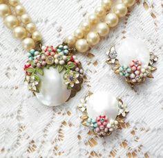 Softly Romantic Vintage Floral Garden Faux Pearl and Mother of Pearl Choker / Necklace and Clip On Earrings Set, Flowers Rhinestones, Bridal...