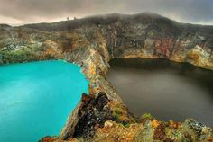 """Amazing Things in the World  The Lakes of Mount Kelimutu, Indonesia are considered to be the resting place for departed souls, the lakes are locally referred to as """"the lake of evil spirits"""". All 3 lakes change color from blue to green to black or red unpredictably."""