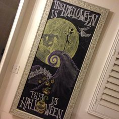 My nightmare before Christmas chalkboard Halloween Chalkboard Art, Christmas Chalkboard Art, Birthday Chalkboard, Fall Chalkboard, Chalkboard Ideas, Chalkboard Quotes, Nightmare Before Christmas Halloween, Disney Halloween, Happy Halloween