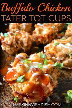 Buffalo Chicken Tater Tot Cups - The Skinnyish Dish Ww Recipes, Chicken Recipes, Cooking Recipes, Healthy Recipes, Skinnytaste Recipes, Skinny Recipes, Healthy Meals, Delicious Recipes, Chicken