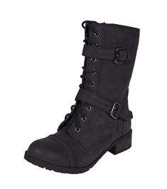 Lustacious Women's Military Lace-up Combat Boots with Buckle Straps >>> To view further for this item, visit the image link.