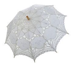 """38"""" White Lace Parasol"""