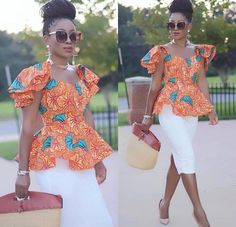 Owning Ankara material is very easy but deciding on topnotch style to sew can be difficult atimes. For some individuals like myself, we have to browse till we can find classy Ankara styles. Latest African Fashion Dresses, African Print Dresses, African Print Fashion, Africa Fashion, African Dress, Ankara Fashion, African Blouses, African Tops, African Women