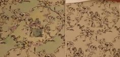 Tinting Toile wallpaper I purchased for $2 a roll. The paper on right is the original color which did not match my decor. This is a Summer Hill brand wallpaper. At that price it was worth a try. Going to add a little more highlights and some a little touch of gold metallic sparkle here and there.