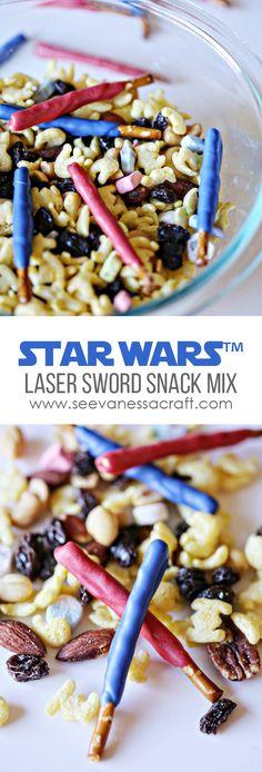 Star Wars Snack Mix with Lightsaber pretzels.