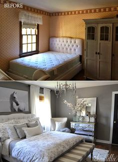 This lady's guest room is what I would like my master bedroom to look like. *sigh* Some Finishing Touches to Our Gray Guest Bedroom by Dear Lillie Gray Bedroom, Trendy Bedroom, Home Bedroom, Bedroom Ideas, Bedroom Designs For Couples, Dear Lillie, Master Bedroom Makeover, Bedroom Makeover Before And After, Guest Bedrooms