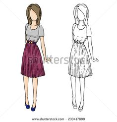 fashion sketch drawing girls in beautiful looks. Hand drawn set of fashion outfits. Illustration with colored girl and contour girl. Pretty girl in pleated skirt.