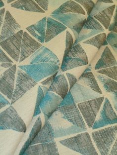 """Upholstery Fabric Pattern Pattern Acute Color Oasis  from King Textiles, woven contemporary geometric triangle and block design, shades of teal and gray on off white  100% poly backed for upholstery rated 30,000 DR  can be railroaded, repeat 14 1/2""""V 14 1/2""""H 58""""W  priced per yard, very limited quantity #upholsteryfabric #geometric"""