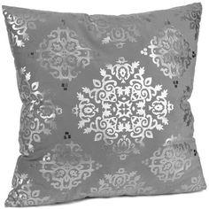 Silver Metallic Medallion Velvet Pillow ($14) ❤ liked on Polyvore
