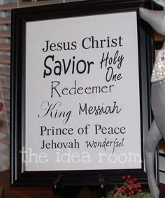 Like the idea. Would like to use with Emmanuel Christmas song. Wonderful. Counselor. Lord of Life. Lord of All. Prince of Peace. Mighty God. Emmanuel.