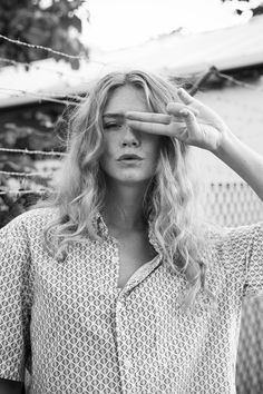 When does a wave become a curl? | Blond waves. Center part. Tousled, messy, with lots of texture. | HER NEW TRIBE