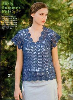 Crochetemoda: Blusa Azul de Crochet ~ Diagrams/Charts ~ Not in English