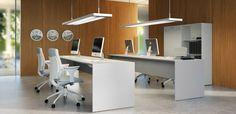 – Forza – Home Office Design Layout White Desk Office, Modern Office Desk, Grey Desk, Contemporary Office, Office Desks, Open Office Design, Office Interior Design, Home Office Layouts, Desk Layout