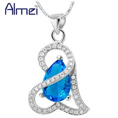 Find More Pendant Necklaces Information about Almei 2015 New Jewelry 18*29mm Silver Necklace CZ Zircon Red/Blue/Purple Color Water Drop Austrain Crystal For Bridal N843,High Quality jewelry one shoulder dress,China crystal rivet Suppliers, Cheap crystal beads for jewelry from ULove Fashion Jewelry Store on Aliexpress.com