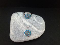 Blue opal spiral silver ring spiral ring greek by ThetisTreasures