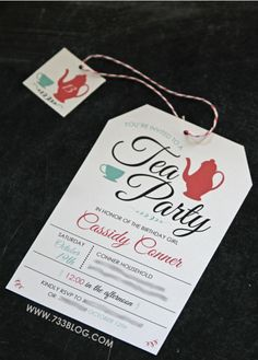 Tea Party - Birthday Party Invite
