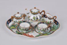 "Miniature tea set Crown Staffordshire ""Ye Old Willow"""