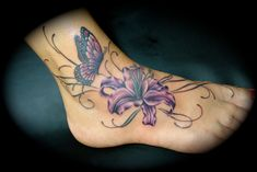 Butterfly n Purple Lily Tattoo On Foot