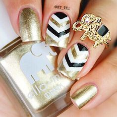 www.ellamila.com Sexy {gilded} chevron nails by nail master @kt_tk1. {gilded} is the perfect creamy metallic that will add a fancy golden touch to your nails. Colors used: {gilded}, {pure love}, and {lights out}. #ellamila #ellamilapolish