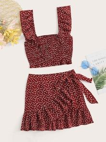 To find out about the Ruffle Trim Crop Cami Top & Wrap Tie Waist Skirt Set at SHEIN, part of our latest Two-piece Outfits ready to shop online today! Cami Tops, Cami Crop Top, Two Piece Dress, Two Piece Outfit, Teen Fashion Outfits, Mode Outfits, Cute Summer Outfits, Cute Casual Outfits, Mode Rockabilly