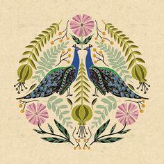 Peacock Illustration // Hand Drawn Birds and Folk Art Flowers // Green, Pink, Blue Art Print by Samantha Jae - X-Small Folk Art Flowers, Flower Art, Art Sketches, Art Drawings, Zentangle, Peacock Wall Art, Scandinavian Folk Art, Indian Folk Art, Paisley