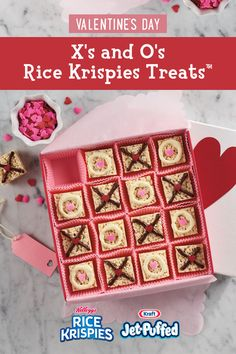 Cute X's and O's rice krispies treats for Valentine's Day Valentine Desserts, Valentines Day Treats, Valentine Day Crafts, Be My Valentine, Holiday Treats, Holiday Recipes, Rice Krispies, Rice Krispie Treats, Valentine's Day Diy