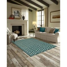 Better Homes and Gardens Rowan Print Area Rugs or Runner, Blue