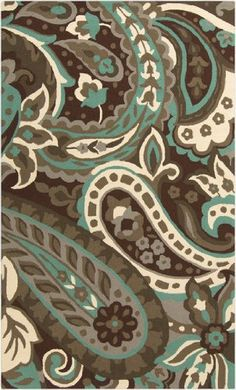 2' x 3' Paisley Splash Chocolate Brown, Aqua Blue and Gray Hand Hooked Outdoor Area Throw Rug Diva At Home http://www.amazon.com/dp/B00KDNL6RU/ref=cm_sw_r_pi_dp_LzAWtb1CQKT4506J