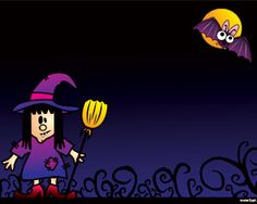This is a background Halloween for PowerPoint with a dark background and a witch in the template design