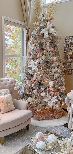 Traditional Christmas tree decorates your room 2020 Beautiful Christmas tree with lights and decorations, Christmas decorations ideas, Christmas tree design 2020 Rose Gold Christmas Tree, Elegant Christmas Trees, Pink Christmas Decorations, Christmas Tree Design, Christmas Tree Themes, Rustic Christmas, Xmas Tree, Christmas Diy, White Christmas