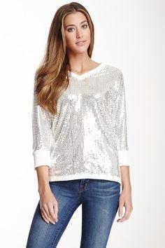 Michael Simon 3/4 Length Sleeve Sequin Pullover by Smitten on @HauteLook