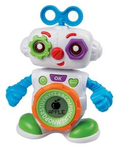 VTech Lil' Cogsley Learning Robot by V Tech. $14.99. Working clock and alarm. Spinning A-Z dial around LCD. Vibrating arms and head. Fun sounds and music. From the Manufacturer                Small, electronic robot pal that teaches letters, letter sounds, objects, time, and more. Has an LCD screen that also functions as a clock and alarm when the robot is not in play. Robot features a turn dial around the LCD which allows the player to spin and make choices, as we...