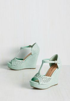 Faithfully Flirtatious Wedge. Rely on these mint platforms to perpetuate your playful demeanor! #mint #modcloth