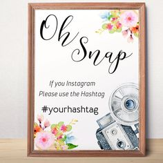 Printable Baby Shower Instagram Sign Oh snap sign by AlniPrints