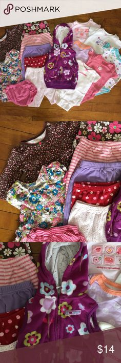 3 month bundle All items are gently used to well loved, but still have lots of life left. Some items are more worn than others and have minor staining (nearly unnoticeable). Includes 5 pants, 1 diaper cover, 1 long sleeve dress (brown with pink flowers), 1 top, 6 onesies, and 1 hooded fleece vest. Total of 15 items. Other
