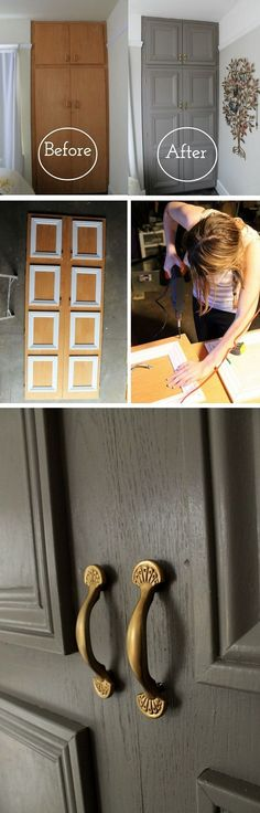 16 Easy DIY Door Projects for Amazing Home Decor on a Budget - how to make a - D.Y - 16 Easy DIY Door Projects for Amazing Home Decor on a Budget – how to make a closet door mak - Diy Simple, Easy Diy, Simple Crafts, Furniture Makeover, Diy Furniture, Furniture Plans, Closet Door Makeover, Closet Doors, Room Closet