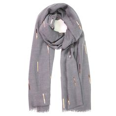 Ladies' Dark Grey abstract foil print scarf, by Style Slice, features shiny metallic matchsticks printed in copper. Elegant spring or summer shawl that can be personalised with a charm or a monogram. Suitable as a gift for anniversary, birthday or any day in which to tell the woman in your life, be it a Mum, Wife, Sister or Girlfriend, that she is special. #scarf #shawl #wrap #scarves #fashion #vintage #handmade #acessories #etsy #gift #sparkle #glitter #headwrap #ootd