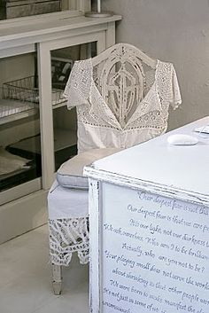 Great office remodel -Like the distressed desk idea with painted quotes on the side. I can think of many creative things to put on the side. Love the chair Decor, Shabby Chic, Painted Furniture, Slipcovers For Chairs, Office Crafts, Creative Workspace, Room Inspiration, Shabby Cottage, Sewing Room Decor