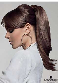 Sleek straight brunette wrapped high ponytail with side swept bangs hairstyle