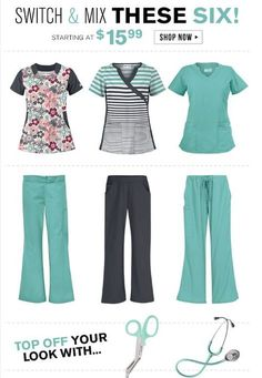 Switch & mix these 6 styles to create multiple fashion forward scrub sets for Fall! Stay on-trend with winter floral prints and the coolest color of the season, Mint Condition. Scrubs Outfit, Scrubs Uniform, Medical Scrubs, Veterinary Scrubs, Nursing Scrubs, Bowling Outfit, Cute Scrubs, Medical Assistant, Scrub Sets